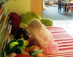 dramatic play in the quiet area